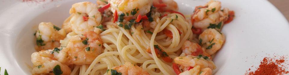 Spaghetti mit Garnelen im Ciao Ciao